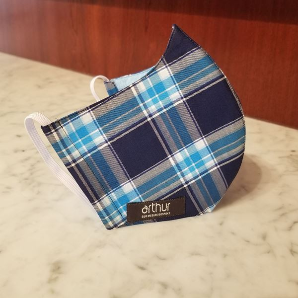 Picture of T292 - Superfine navy with aqua checks