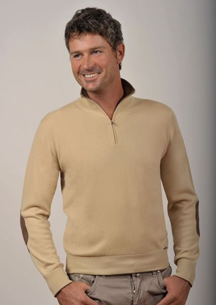 Picture of Custom Half-Zip Sweater 100% Cashmere - Gianluca con Toppe