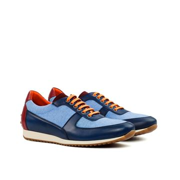 Custom sneakers corsini 3355 blue linen navy and burgundy calf leather