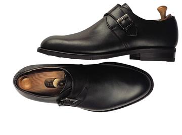 Custom shoes Miyagi Kogyo ES33 smooth black calf leather single monk