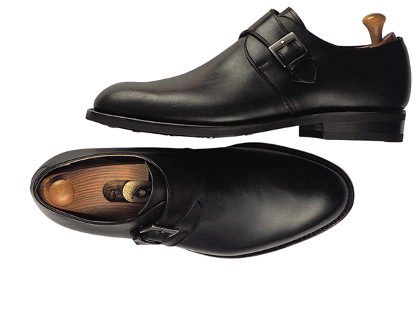 Custom shoes Miyagi Kogyo ES33 smooth black calf leather single monk