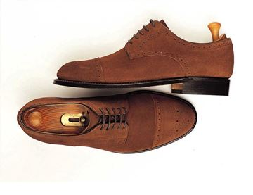 Custom shoes Miyagi Kogyo ES31 mid brown suede cap toe derby