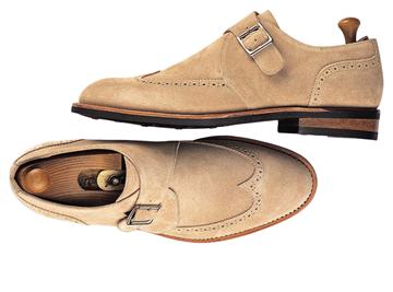 Custom shoes Miyagi Kogyo ES23 sand sueder single monk straps