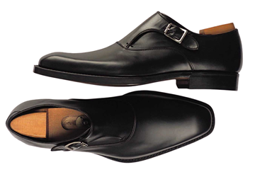 Custom shoes Miyagi Kogyo CS-112 smooth black single monk straps