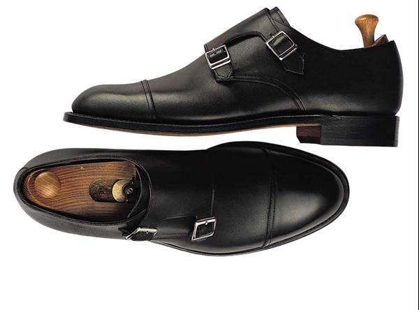 Custom shoes Miyagi Kogyo ES20 smooth black calf leather double monk