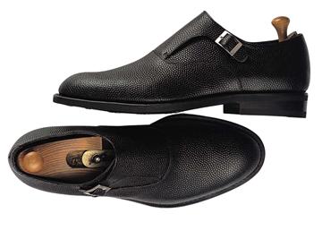 Custom shoes Miyagi Kogyo ES16 black pebbled leather single monk