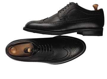 Custom shoes Miyagi Kogyo ES-11 grained black calf leather derby