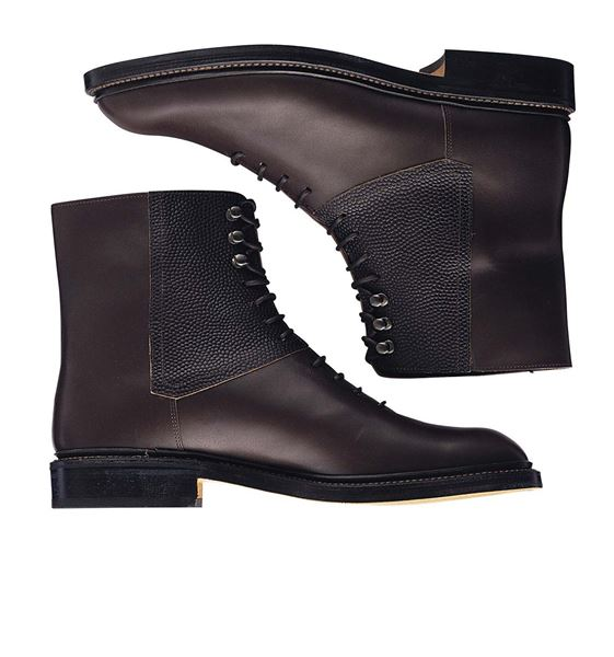 Custom balmoral boots Miyagi Kogyo ES36 dark brown calf leather