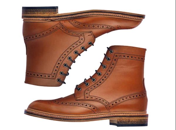 Custom military boots Miyagi Kogyo CS-34 mid brown calf leather