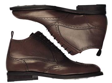 Custom wingtip boots Miyagi Kogyo ES28 dark brown leather