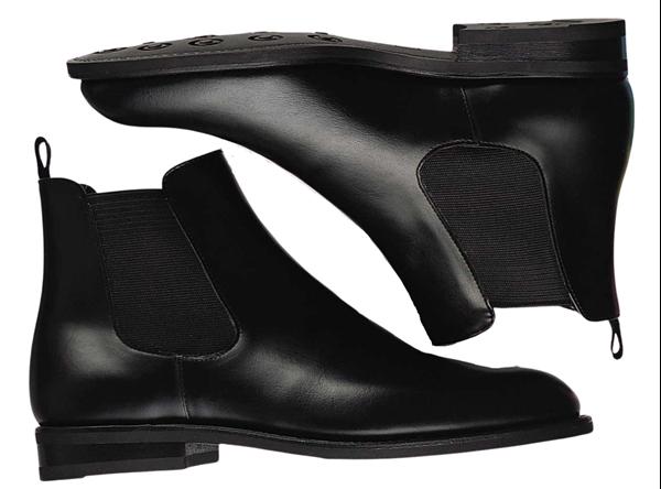Custom chelsea boots Miyagi Kogyo ES26 black calf leather