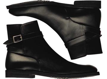 Custom single monk boots Miyagi Kogyo CS-121 black calf leather