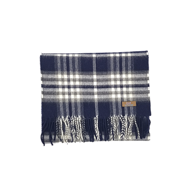 Lovat Mill 100% cashmere checkered scarf navy and grey