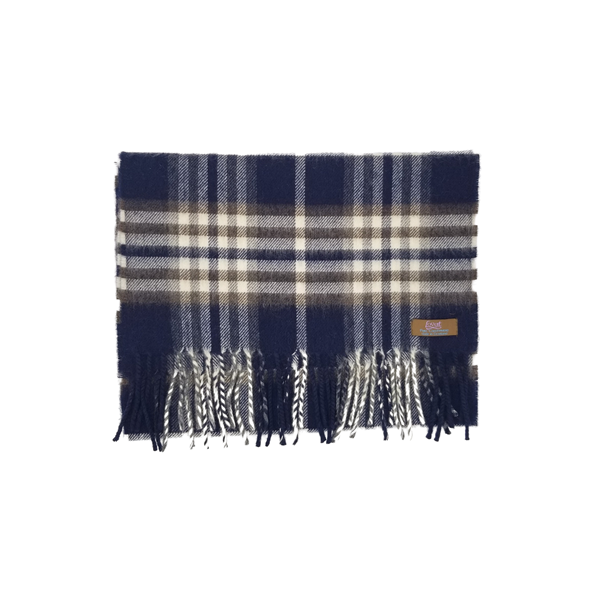 Lovat Mill 100% cashmere checkered scarf navy and brown