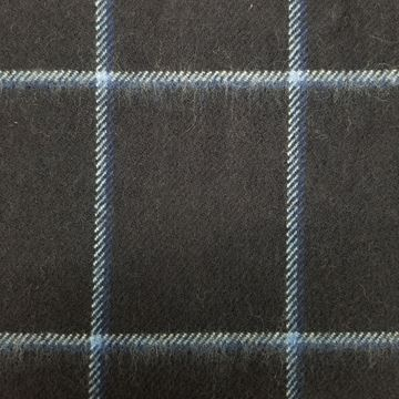 Lovat Mill 100% cashmere checkered scarf navy and blue