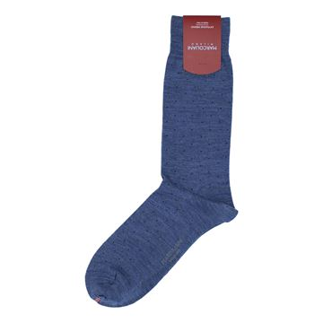 Marcoliani Milano navy on blue pin dots wool blend socks