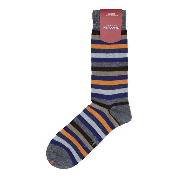 Marcoliani Milano Orange Multicolor striped wool blend sock