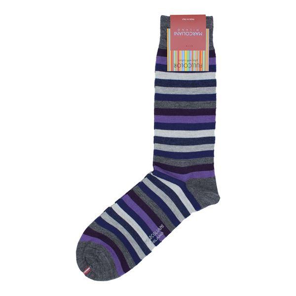 Marcoliani Milano Purple multicolor striped wool blend socks