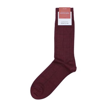 Marcoliani Milano black on burgundy checks Modal and cashmere blend socks