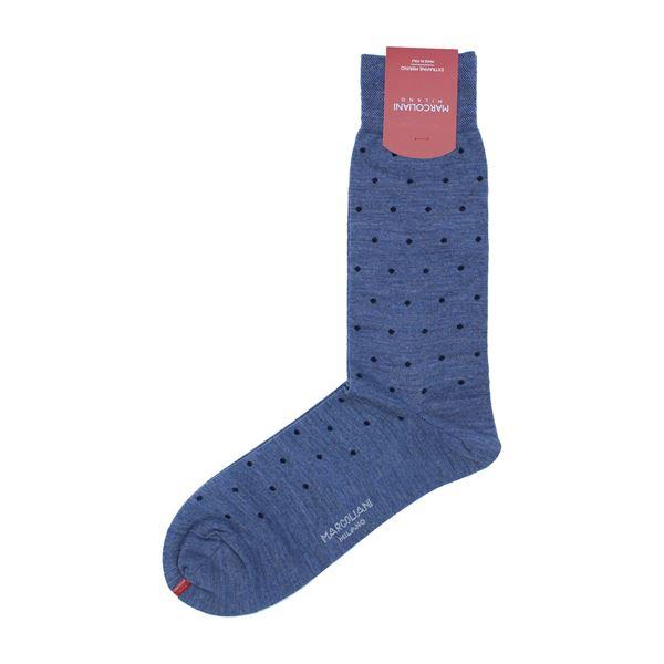 Marcoliani Milano navy on blue polka dots wool blend socks