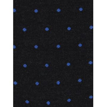 Marcoliani Milano blue on charcoal polka dots wool blend socks