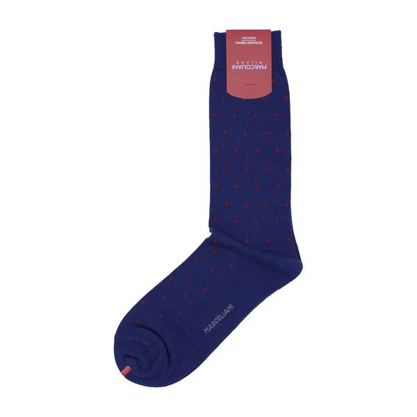 Marcoliani Milano red on navy polka dots wool blend socks