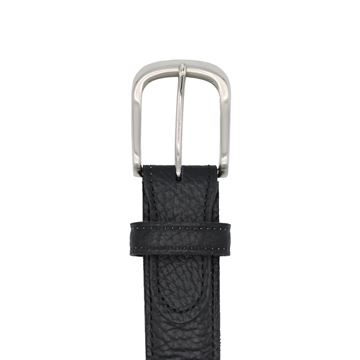 Miyagi Kogyo black embossed calf leather belt