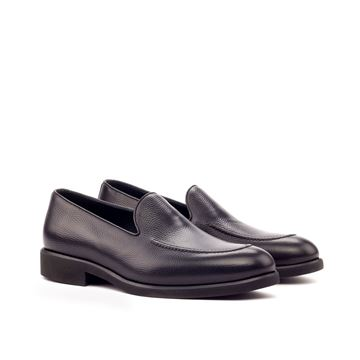 Custom loafers 3418 black pebbled leather