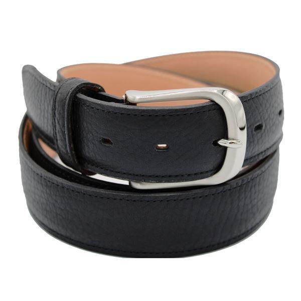 Miyagi Kogyo black embossed calf leather belt