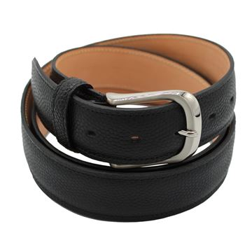 Miyagi Kogyo black pebbled calf leather belt