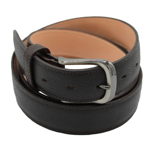 Miyagi Kogyo dark brown pebbled calf leather belt