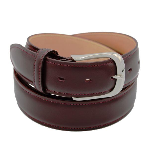 Miyagi Kogyo Burgundy smooth calf leather belt