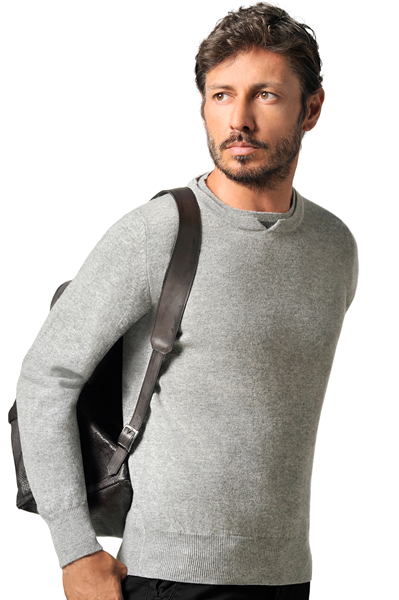 Paolamela Custom 100% Cashmere crew neck Sweater with inner collar - Ettore