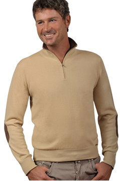 Paolamela Cashmere Custom 100% Cashmere Half-zip Sweater with elbow patch - Gianluca