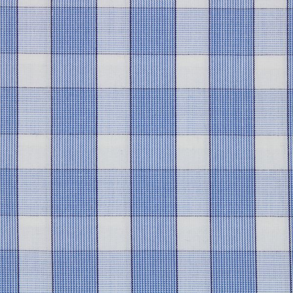 Blue and White Large Checks bespoke shirt fabric