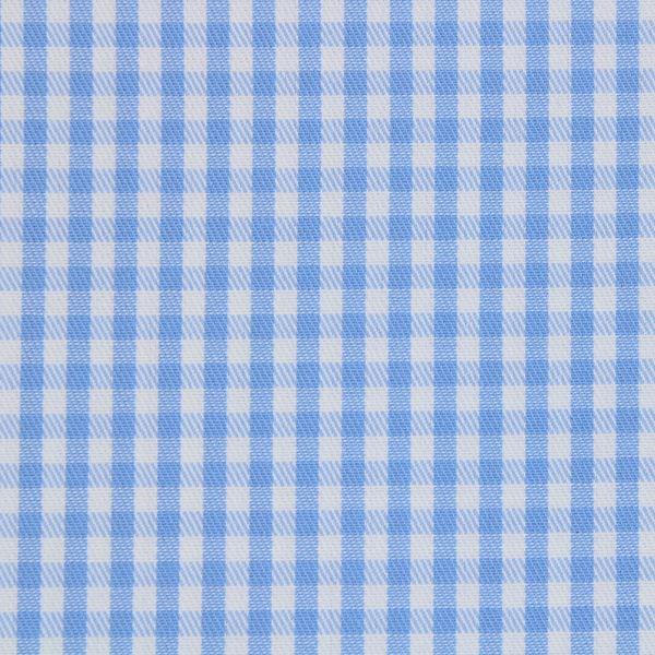 Light Blue and White Gingham Checks shirt fabric A608