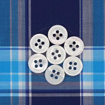 Large Aqua Checks on Navy shirt fabric T292