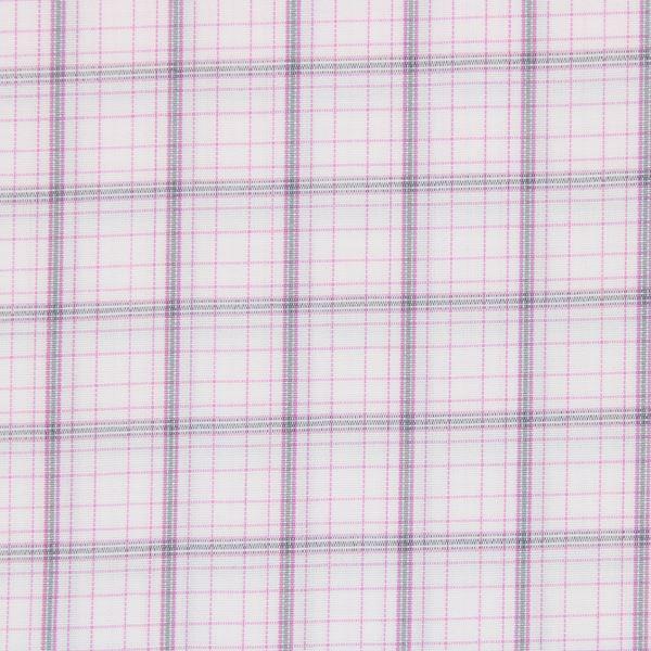 Pink and Grey Checks on White shirt fabric G213