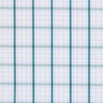 Green Checks on White shirt fabric G214
