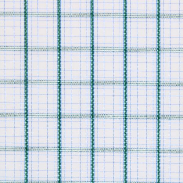 Green Checks on White shirt fabric G214