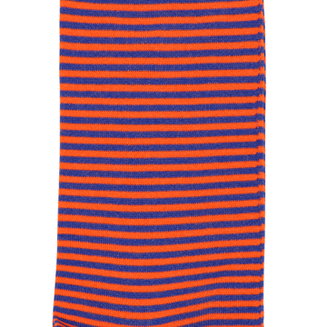 Marcoliani Milano orange and royal blue horizontal striped cotton blend socks
