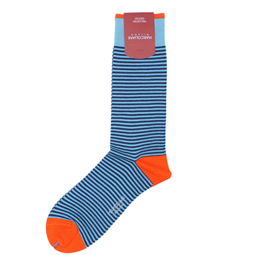 Marcoliani Milano aqua and navy horizontal striped cotton blend socks