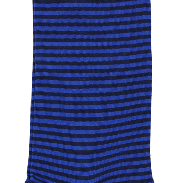 Marcoliani Milano royal blue and black horizontal striped cotton blend socks