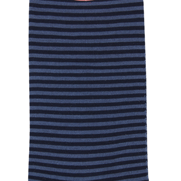 Marcoliani Milano navy and denim blue horizontal striped cotton blend socks