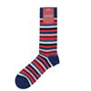Marcoliani Milano red, pink and blue  horizontal striped cotton blend socks