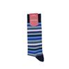 Marcoliani Milano navy, grey and blue horizontal striped cotton blend socks