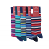 Marcoliani Milano navy, purple and fuschia horizontal striped cotton blend socks