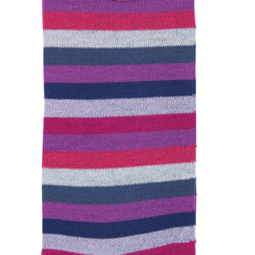 Marcoliani Milano navy, purple and fuschia horizontal striped cotton blend socks