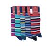 Marcoliani Milano green, aqua, teal horizontal striped cotton blend socks