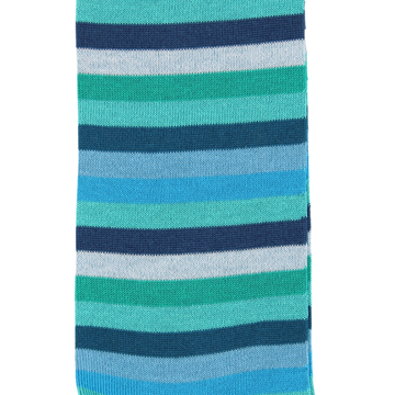 Marcoliani Milano green, aqua, teal horizontal striped cotton blend socks